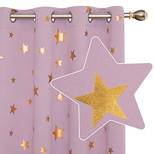Deconovo Thermovorhang Blickdicht mit Ösen Verdunkelungsgardinen Sterne Dekoration 183x168 cm Hellpink 2er Set