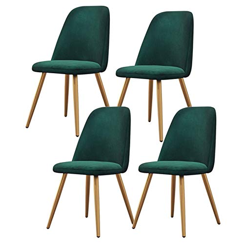 Set of 4 Velvet Fabric Modern Dining Chairs Padded Seat Cushioned Backrest Strong Golden Metal Legs Chair for Kitchen Living Room Lounge Bedroom (Color : Green)