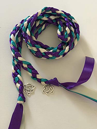 Purple, Teal and Ivory Handfasting Cord with Large Celtic Heart- Wedding- Ceremony Braid- BraidedTogether