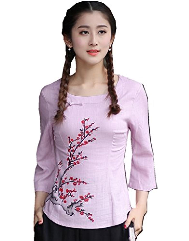 (上海物語) Shanghai Story 花柄 長袖 ラウンドネック ブラウス レディース チャイナ トップス 民族風 上着 女性用