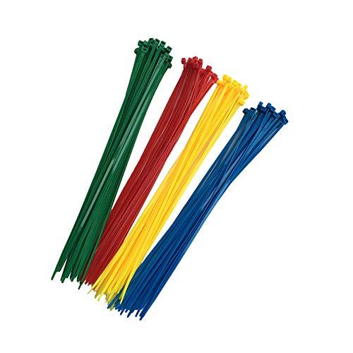 100 Piezas Bridas Para Cables, Bridas De Nylon De Color De Alta Calidad, 300mm X 3,6mm, Rojo, Amarillo, Azul, Verde, 25 Por Color