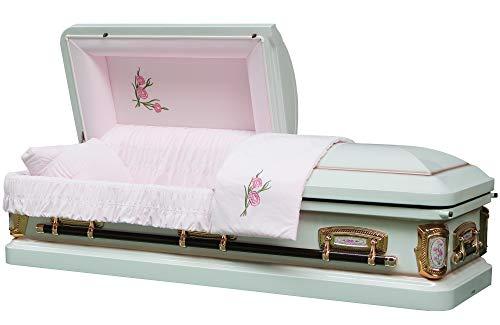 Funeral Casket - PrimRose White Shade with Silver Rose Finish 18 Gauge Metal Casket - Coffin