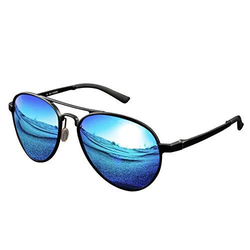 CHEREEKI Polarisierte Sonnenbrille, Fliegerbrille Sonnenbrille Klassische Unisex Pilotenbrille UV400 Schutz Gläser für Herren und Damen (Schwarz-Blau)