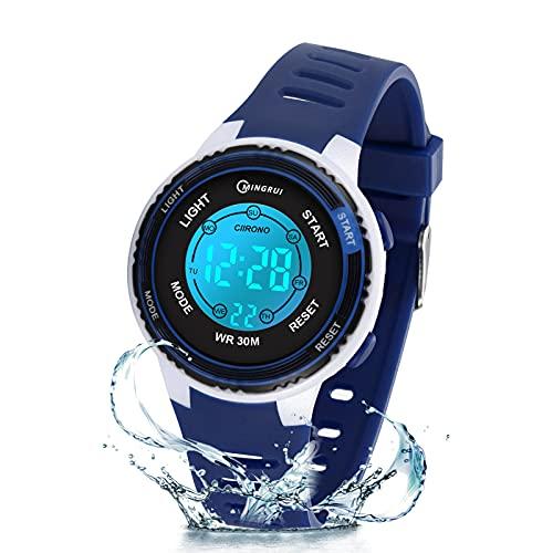 Reloj Digital para niños, niñas, Reloj de Pulsera Resistente al Agua con 12/24 H, Reloj Despertador, luz de Fondo de 7 Colores, Regalos de cumpleaños para niños y niñas (Azul marino-8563B)