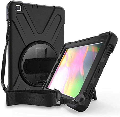 Samsung Galaxy Tab A 8.0 Case 2019 | SM-T290 T295 Case | Herize Heavy Duty Rugged Shockproof Silicone Cover with 360 Degree Stand Hand Strap Shoulder Strap for Kids | Galaxy Tab A 8.9 Inch | Black