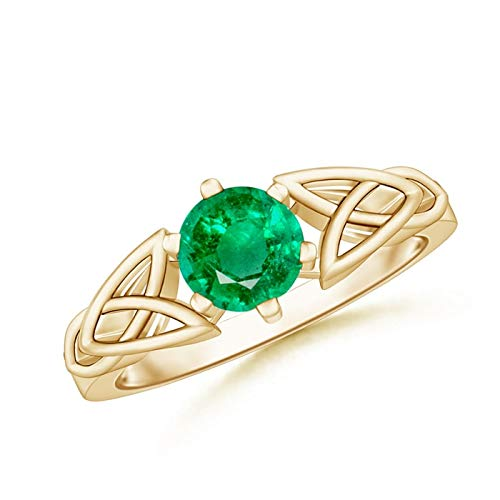 Solitaire Round Emerald Celtic Knot Ring in 14K Yellow Gold (6mm Emerald)
