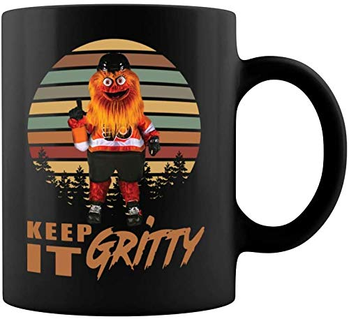 Lplpol Keep It Gritty Flyers Maskottchen Keramik Kaffee Tee Tasse Teetasse (313 ml, schwarz)