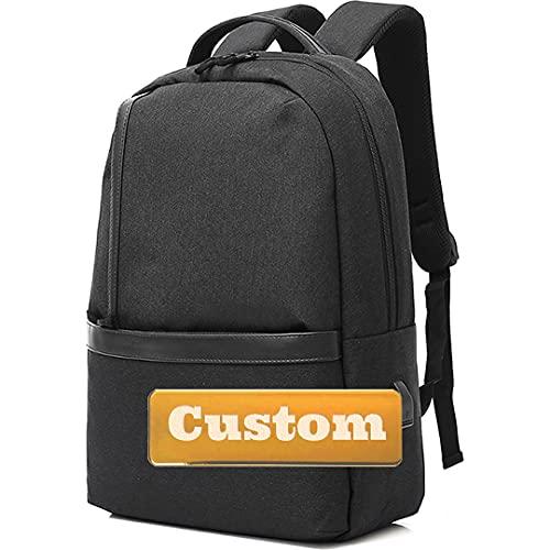 Nombre Personalizado Hombres Grandes Mochila de Viaje para 15.6 Bolso portátil Protective COLEGE (Color : Black, Size : One Size)