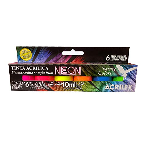 Kit Tinta Acrílica Neon Nature Colors Acrilex 10ml Com 6 Unidades
