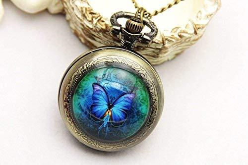 Blaues Schmetterling-Bild mit Schmetterlingen, Taschenuhr, Schmetterlings-Halskette, Vintage-Bronze-Schmuck, Kunst-Bild-Schmuck, modischer Anhänger.