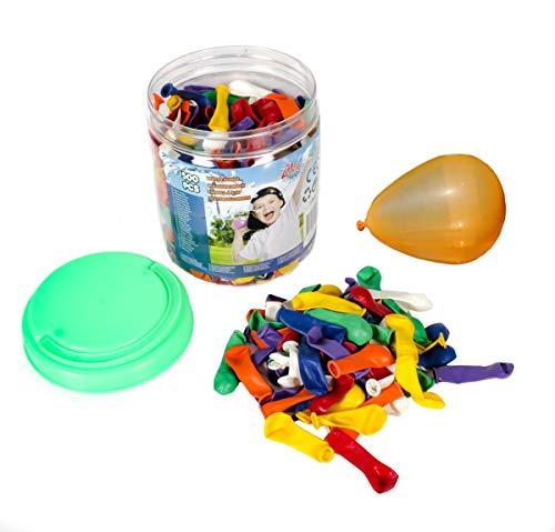 Bubble Store 500 Stück Wasserbomben für Kinder und junggebliebene Erwachsene, Luftballons in rot, orange, gelb, blau, weiß, violett und grün im Behälter mit Tragegriff