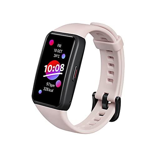HONOR Band 6 Orologio Fitness Tracker Uomo Donna Cardiofrequenzimetro da Polso Impermeabile Contapassi Smartband Sportivo Activity Tracker 1.47 Pollice Schermo a Colori (Rosa)