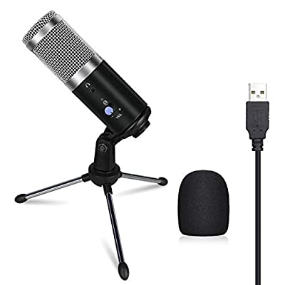 Anpro USB Condenser Microphone with 1.8M USB Cable and Adjustable Bracket for Studio Recording,Gaming, Streaming, Voice Overs,Live Broadcast and Youtube Videos