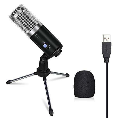 Anpro USB Mikrofon, Laptop Mikrofon Kondensator Mikrofon + Ständer für Aufnahme und Streaming, Konferenz, YouTube-Videos, Skype, Voice Over