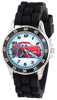 Disney Kid s Cars Watch Learn How to Tell Time - Kid s Time Teacher Watch with Official Cars Character on The Dial Childrens Watch with Black Rubber Strap Kids Analog Watch Safe for Children