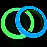 Gebildet 2pcs Cinta Luminosa Glow in the Dark, Cinta Autoadhesiva Tape Fluorescente, Etiqueta de Seguridad, Cinta Impermeable para Decoración Hogar y Signo de la Noche (10M × 1CM, Verde + Cielo Azul)