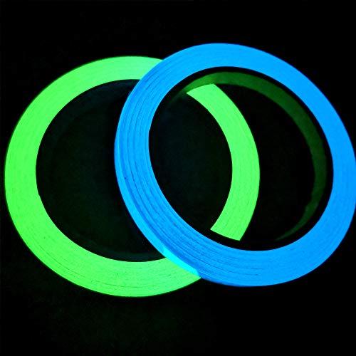 Gebildet 2 stücke 1cm x 10m Leuchtendes Band, Selbstklebendem Band, Warnband, Luminous Tape, Glow In The Dark, Wasserdicht, Abnehmbar, Langlebig, Tragbar, Stabil, Sicherheit (Grün + Himmelblau)