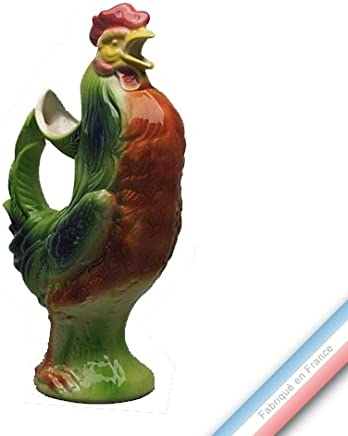 BLEU Pichet coq L /½ d/ècoration Ricco deruta en C/éramique 10.5x17 H19,5 cm MICHELANGELO Peint /à la main Poterie