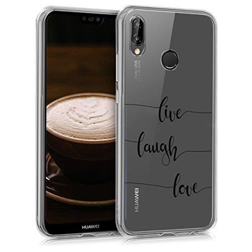kwmobile Cover Compatibile con Huawei P20 Lite - Custodia in Silicone TPU - Back Case Cover Protettiva Cellulare Live Laugh Love Nero/Trasparente