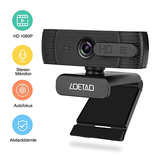 LOETAD Webcam 1080P Autofokus Full HD Kamera mit Abdeckung 2 Mikrofon Stereo-Sound für Video Chat Streaming