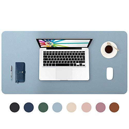 DOBAOJIA Tappetino per Mouse Grande Mouse Pad Mat XL Sottomano da Ufficio Tappetino da Tavolo Pad per Scrivania Laptop, Pelle PU Impermeabile + Scamosciata Antiscivolo 80 x 40 cm (Blu Grigiastro)