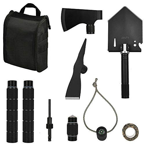 iunio Survival OffRoading Tool Kit Folding Shovel Camping Axe Multitool Pickaxe with Carrying Bag for Outdoor Car Emergency Basic Black