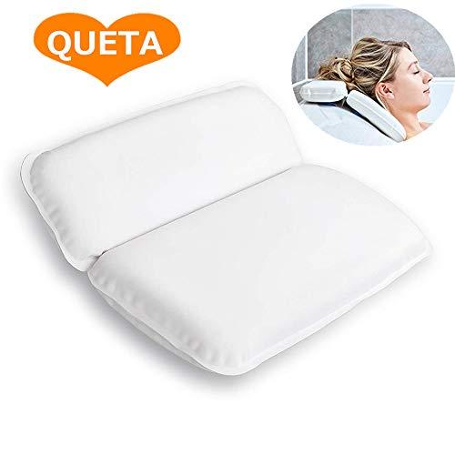 Cuscino da Bagno, Cuscino da Bagno impermeabile con 7 Ventose Cuscino in Schiuma, Cuscino da Bagno Pieghevole Lavabile Bianco (39 x 31 cm)