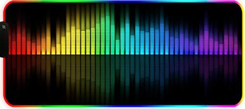 DEESYG Alfombrilla de Ratón Gaming RGB 600 * 350 * 3mm, Base de Goma Antideslizante, Superfície Suave Resistente al Agua para Gamers, PC y Portátil -Notas Coloridas de DJ