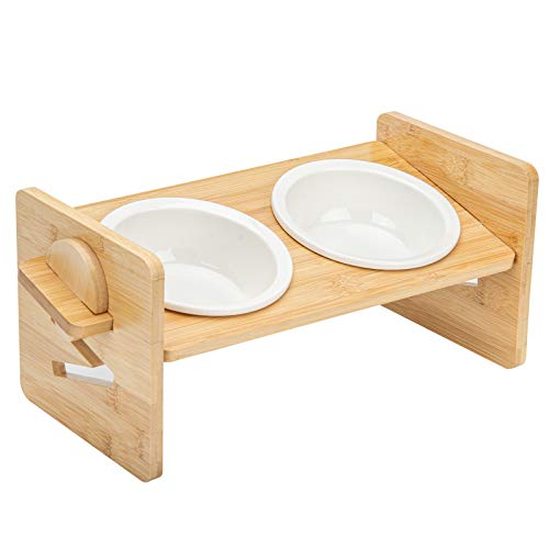 Elevated Bowls for Cats and Small Dogs, Adjustable Raised Pet Food Water Stand Bamboo Feeder with 2 Ceramic Bowls and Anti Slip Feet, Perfect for Your Pet