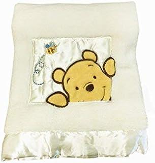 "Danica Soft Coral Fleece Baby Blanket, Cute Animal Pattern, 40"" X 30"" Cozy, Comfortable & Warm (Ivory Winnie The Pooh B)"