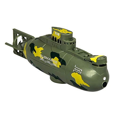YUDIZWS Mini Control Remoto Submarino Toy Boat Toy, Modelo Militar Electronic Water Juguete de Alta Velocidad Submarino Regalo para niños y Adultos,Verde