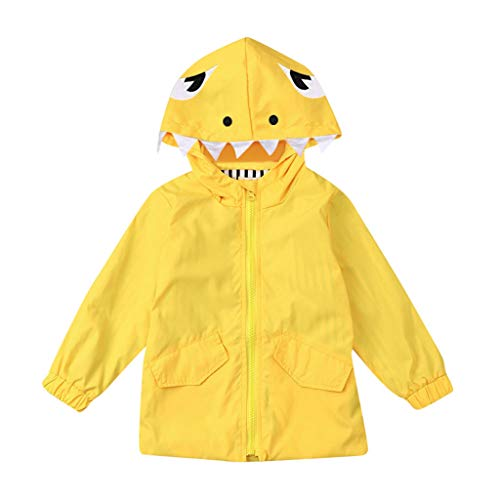 Toddler Baby Boy Girl Children Raincoat Cartoon Dinosaur Hooded Zipper Clothes Coat for 1-5 Years Old (3-4 Years Old, Yellow-5)