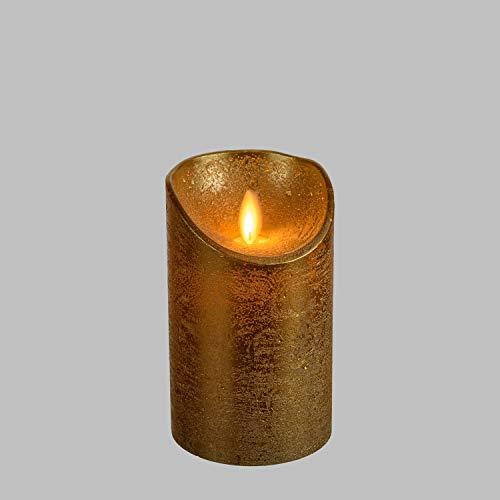 luminalpark vela cilíndrica cera áspera Oro, Ø 7,5 cm, 12