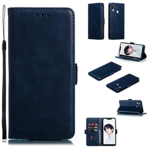 ZHANGHUI Funda protectora para Huawei Nova3i/P Smart+, funda tipo cartera de piel sintética vintage con función atril, ranuras para tarjetas, TPU a prueba de golpes