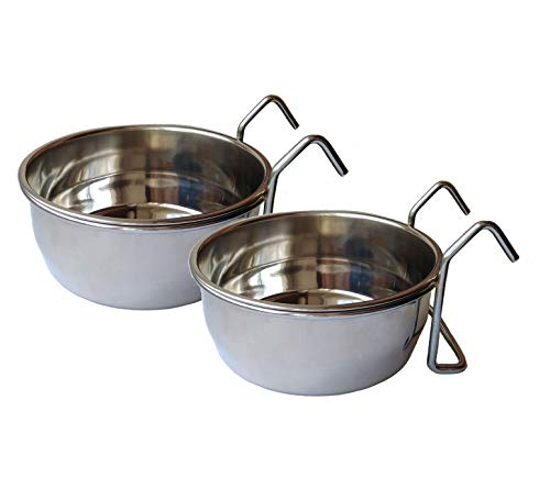 Ethical Market Stainless Steel Coop Cup for Dog Bird Food Water Bowl Crates Cages Hanging Pet Bowls Perfect Small Animal Parrot Rabbit Cat Dish with Hook Holder, Pack of 2 (Small)