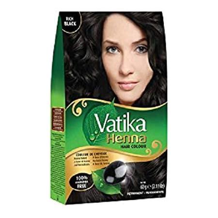 Vatika Henna - Tinte para el cabello, color negro rich black, 100 % libre de amoníaco, 60 g (6 bolsitas de 10 g)