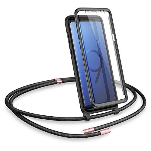 SURITCH Funda con Cuerda para Samsung S9 Plus, Carcasa TPU Silicona Case con Protector de Pantalla con Colgante Ajustable Collar Correa de Cuello Cordón con Samsung S9 Plus (Negro)