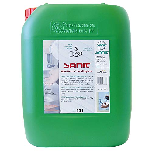 SANIT AquaDecon Handhygiene (10 Liter) bekämpft Viren, Bakterien, Pilze u.v.m, ph-neutral, reizfrei und hautschonend