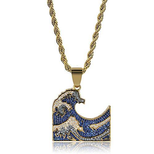 Hip-hop - Collar con colgante de piedra preciosa de color con incrustaciones de cobre y circonitas
