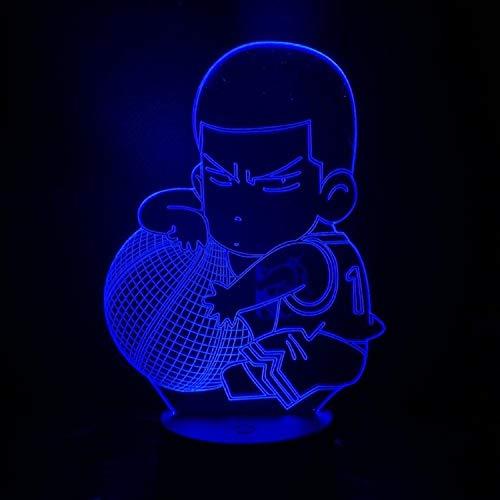 Lâmpada noturna de luz 3D SLAM SLAM Dunk Sakuragi Hanamichi com sensor de LED infantil para decoração de quarto presente de Natal USB LED 7 mudanças de cor para decoração de quarto Touch TIEHENG HOICHAN