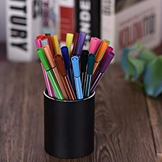 Yiherone Aluminum Circle Desk Pencil Holder Container Organizer Stationery Gift(Black) New (Color : Black)