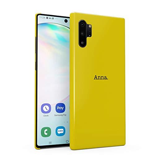 Personalizzato Custodia in Plastica Rigida Per Samsung Galaxy Note 10 Plus Custom Quote Name Surname Initials Letter Customized Text Yellow Minimal Simple Iniziali Personalizzate Cover Protettiva
