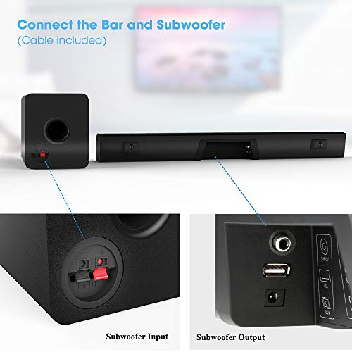 Soundbar with Subwoofer, Upgrade Version MEGACRA 2.1 Channel 100 Watt Bluetooth TV Sound Bar for Home Entertainment (IR Learning Remote, Wireless and Wired Connection, Bass Treble Adjustable)