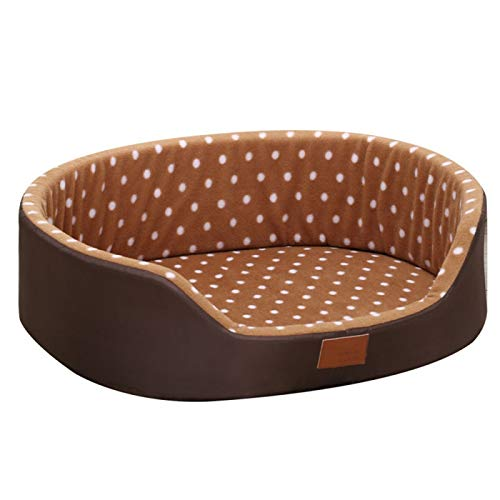 LohugoSuper Cute Polka Dot Dog Bed, Comfortable And Soft, Double-Sided Special Design, Washable, Suitable For All Seasons