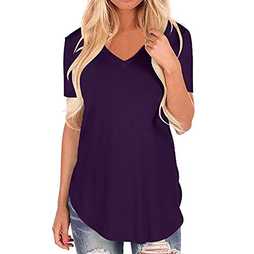 Tosonse T-Shirt Für Damen Einfarbig Herbst Shirts Stretch O-Ausschnitt Freizeit Kurzarm Tops Tunika Blusen Tee