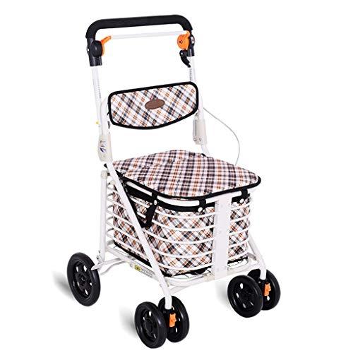 ShenZuYangShop Winkelwagen carbon staal inklapbare draagbare trolley walker rollator oude man het kopen van groenten met wielen stoel winkelwagen