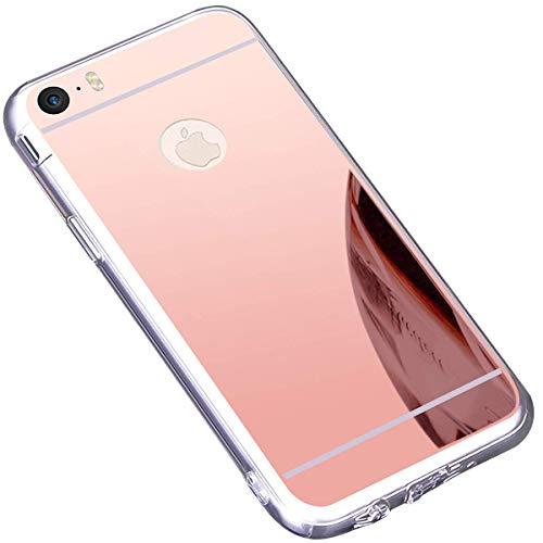 Ukayfe Custodia iPhone 6,Cover iPhone 6S,Custodia Specchio in TPU Silicone Cristallo Placcatura Mirror Case Ultra Sottile Silicone Morbida Gomma Protettiva Cover per iPhone 6/6S-Oro Rosa