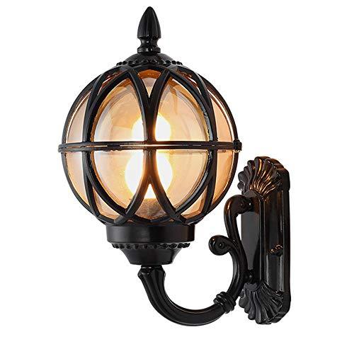 Außenleuchte Vintage E27 Wandleuchte Schwarz Wandlaterne Wasserdicht IP44 Aluminium und Glas Kugel Schatten Wandlampe Retro Landhaus Gartenlampe Outdoor Fassade Lampe,21.5 * 24.5 * 38cm