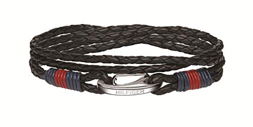 Tommy Hilfiger Men's Multi-Wrap Braided Leather Bracelet with Stainless-Steel Closure, Black, 43 cm