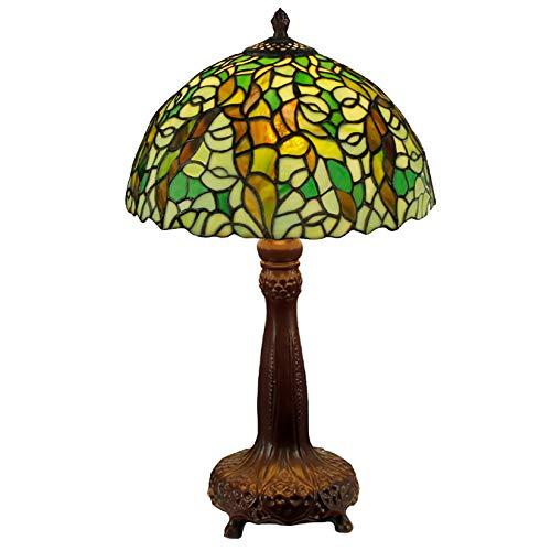 12 inch groen gekleurd glazen tafellamp pastorale groene bladeren bureau decoratie lamp slaapkamer bedlampje met zinklegering basis, 110-220V, E27